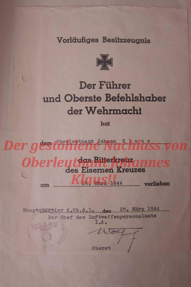 Ritterkreuznachlass Hans Klaus