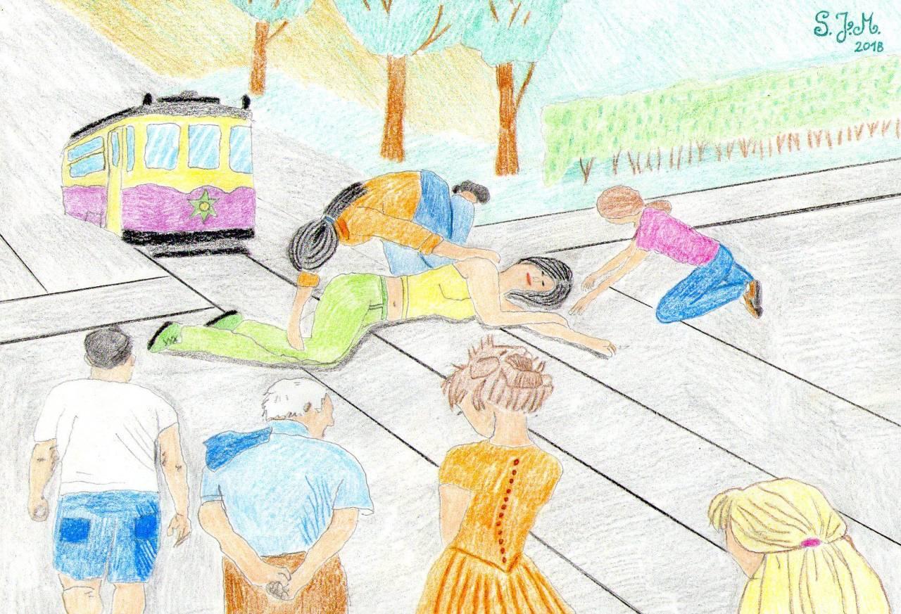 Erste Hilfe auf den Gleisen - by S.J.M. - eigene Zeichnung