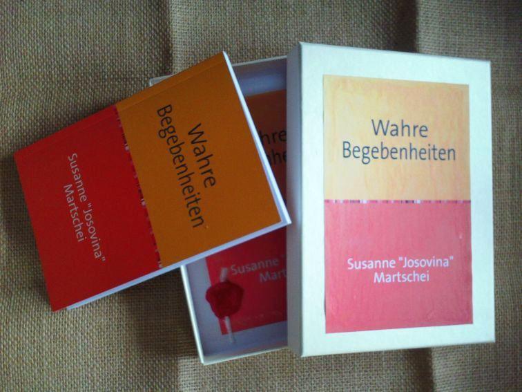 Wahre Begebenheiten - Susanne Josovina Martschei; Buch, Schachtel und Jutetuch