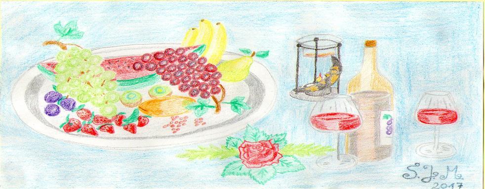 Obstplatte mit Wein und Kerzenlicht by S.J.M.