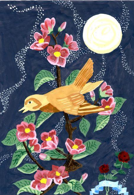 Goldammer auf einem Kischblütenzweig - by S.J.M.