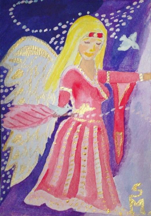 Engel mit Tauben - eigene Zeichnung by S.J.M.