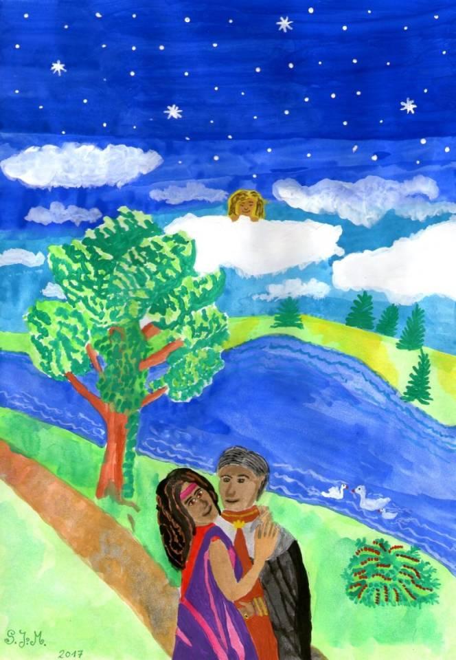 Eigene Zeichnung - Mann mit Frau am See im Park - by S.J.M.