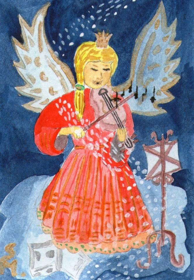 Engel mit Geige im Himmel by S.J.M.