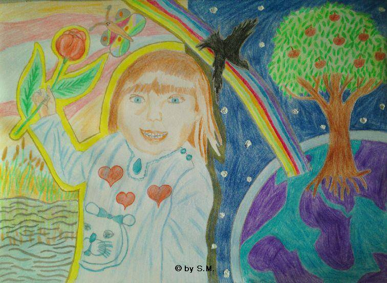Mädchen, Traumführung, Rabe, Schmetteling, Regenbogen, Rose, Licht, Lebensbaum, Tag und Nacht, Welt, Globus by S.J.M.