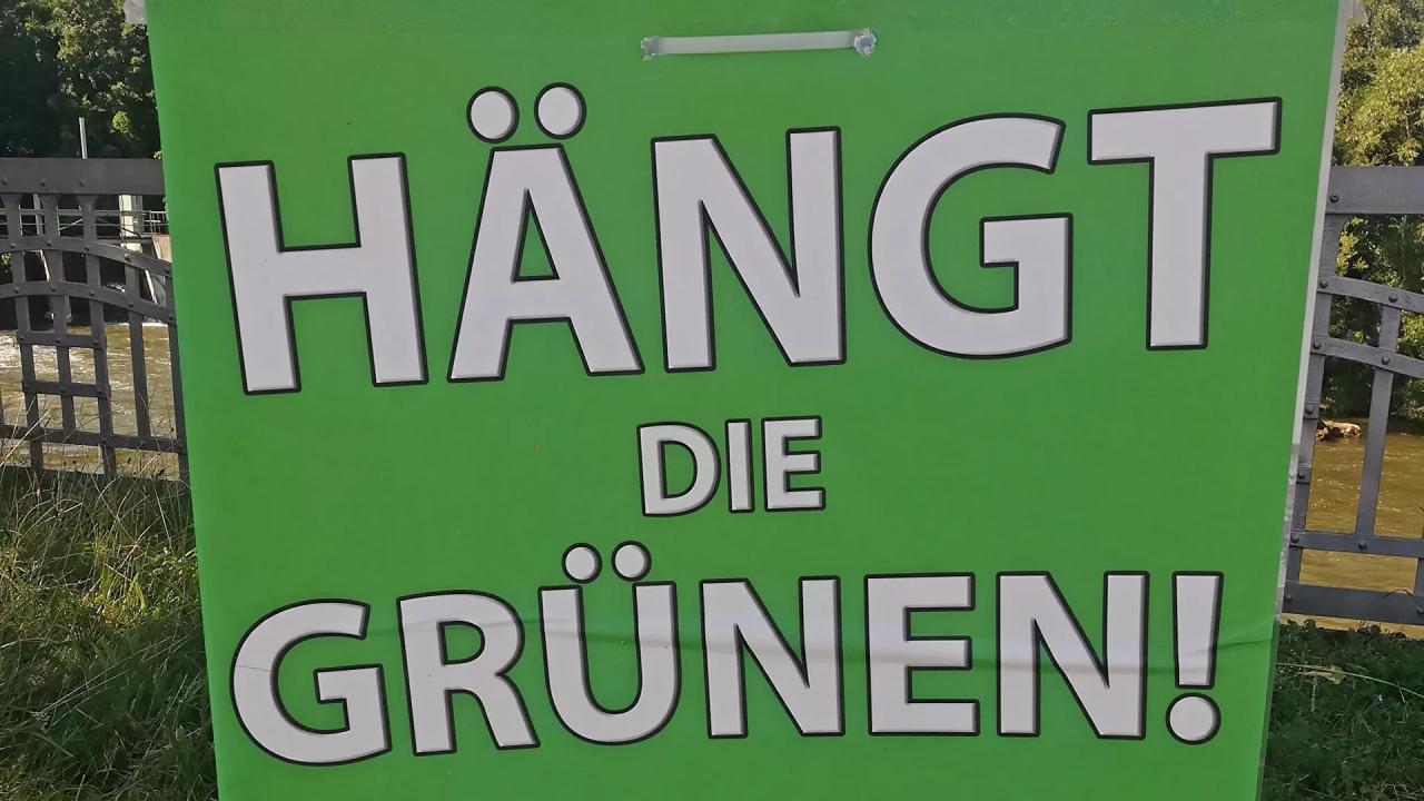 Hängt die Grünen - Wahlplakat der rechtsextremen Partei III. Weg 2021 - SNA, 1920, 14.09.2021