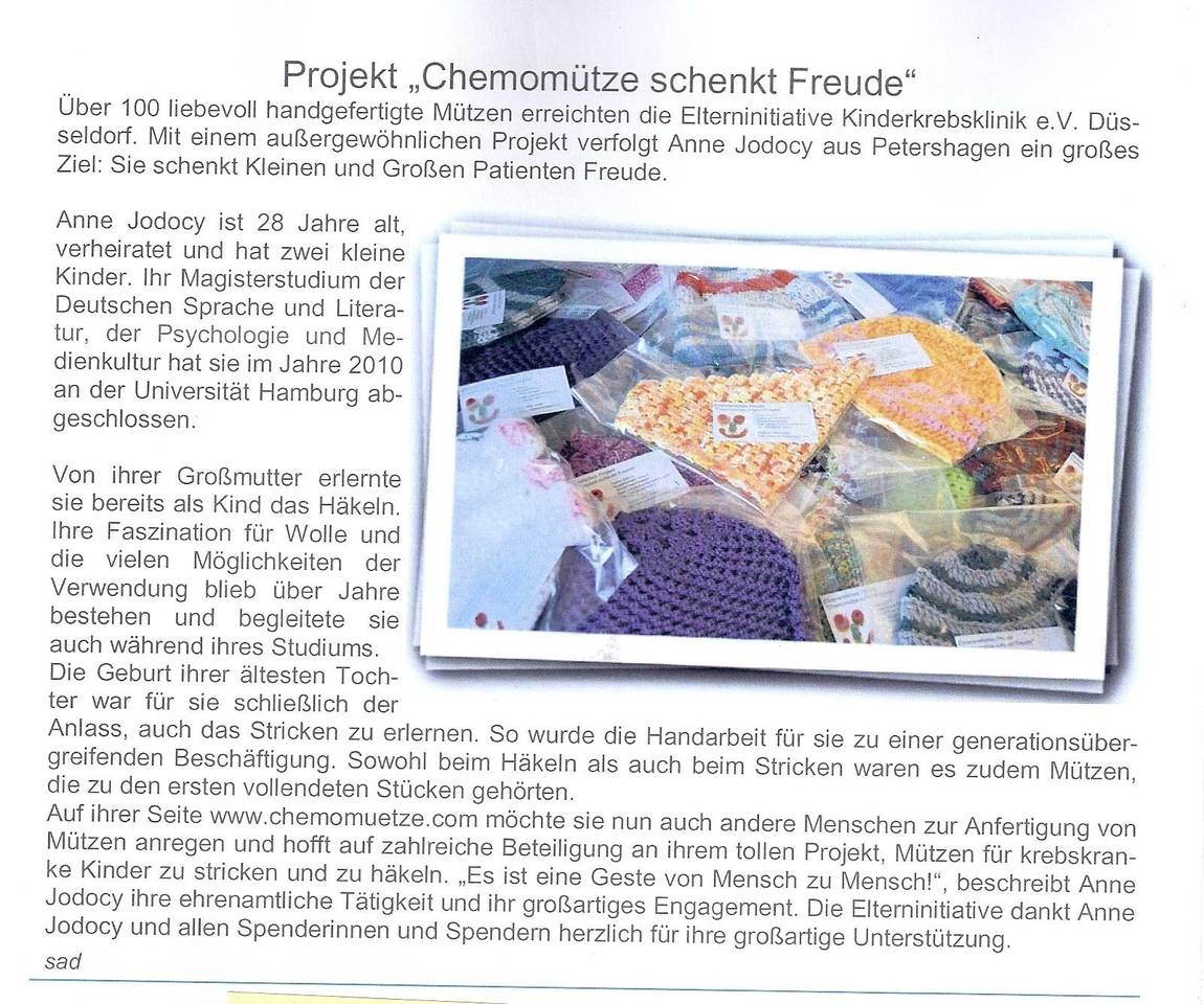 Kinderkrebsklinik e.V. berichtet über das Projekt Chemomütze schenkt Freude - Ehrenamtliche stricken, häkeln oder nähen Mützen für Kinder, Männer und Frauen