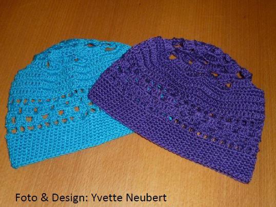 Sommermütze oder Nachtmütze - Gehäkelte Mütze mit Lochmuster - Anleitung kostenlos - Entwurf von Yvette Neubert