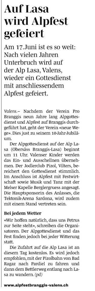 Vorschau Alpfest 2018 (sarganserländer, 01.06.2018)