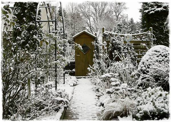 Blick zum Gartenschrank im überschneiten Garten