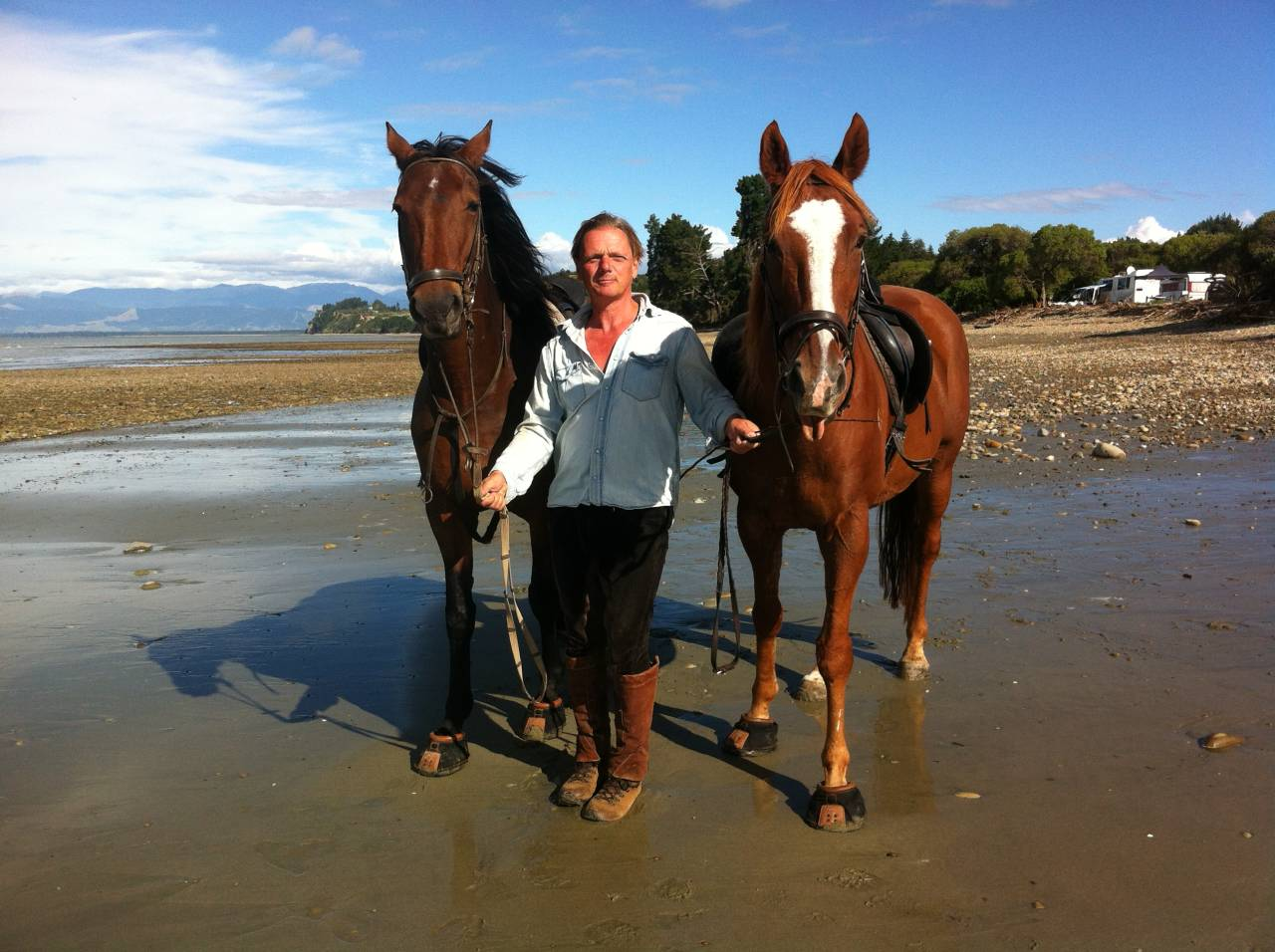 At Kina Beach with the horses