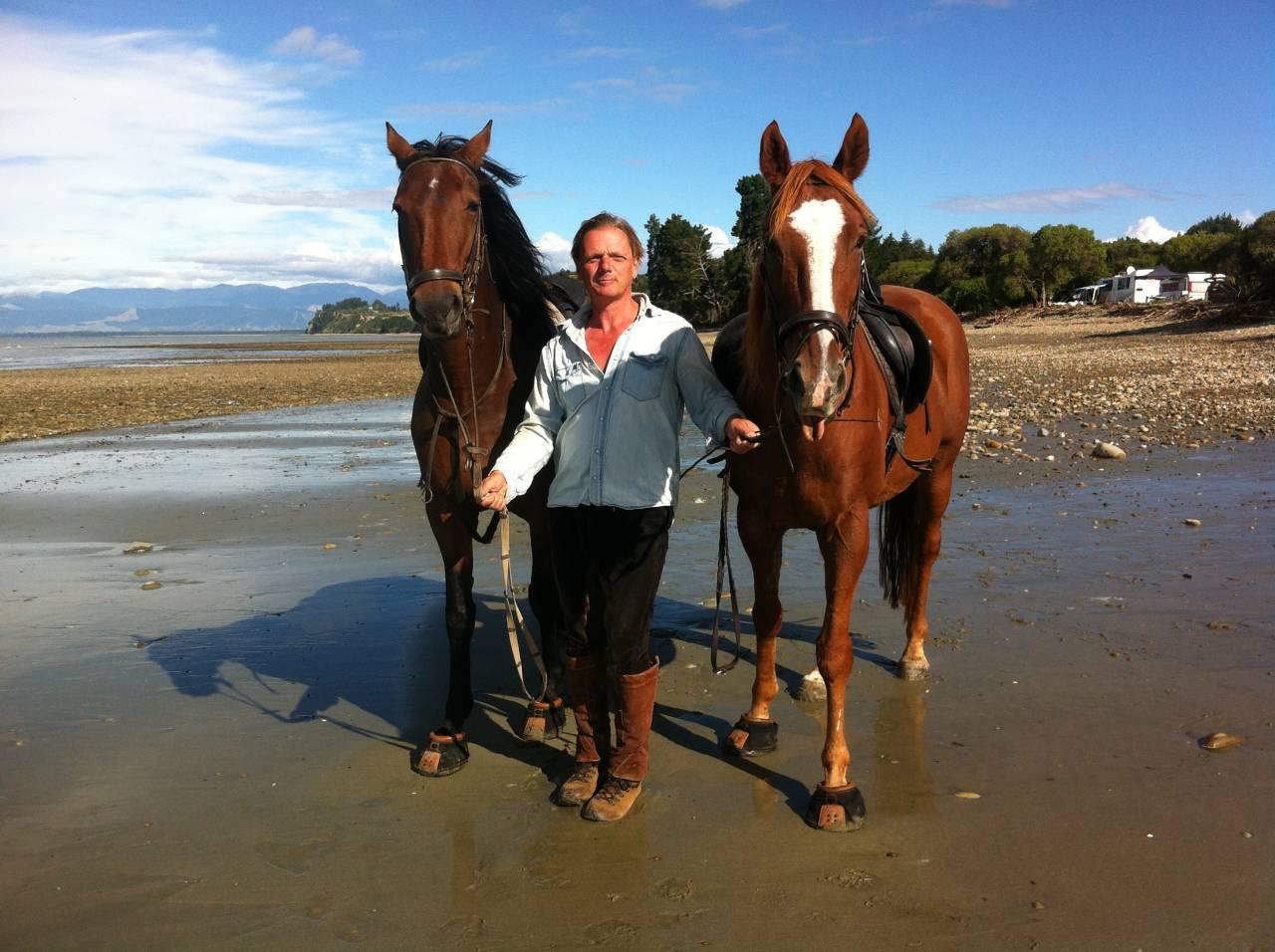 At Kina Beach with the horses