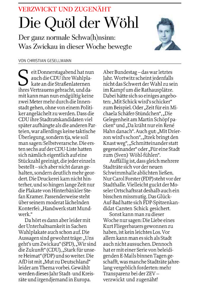 Freie Presse 10.05.2015