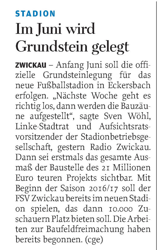 Freie Presse 28.05.2015