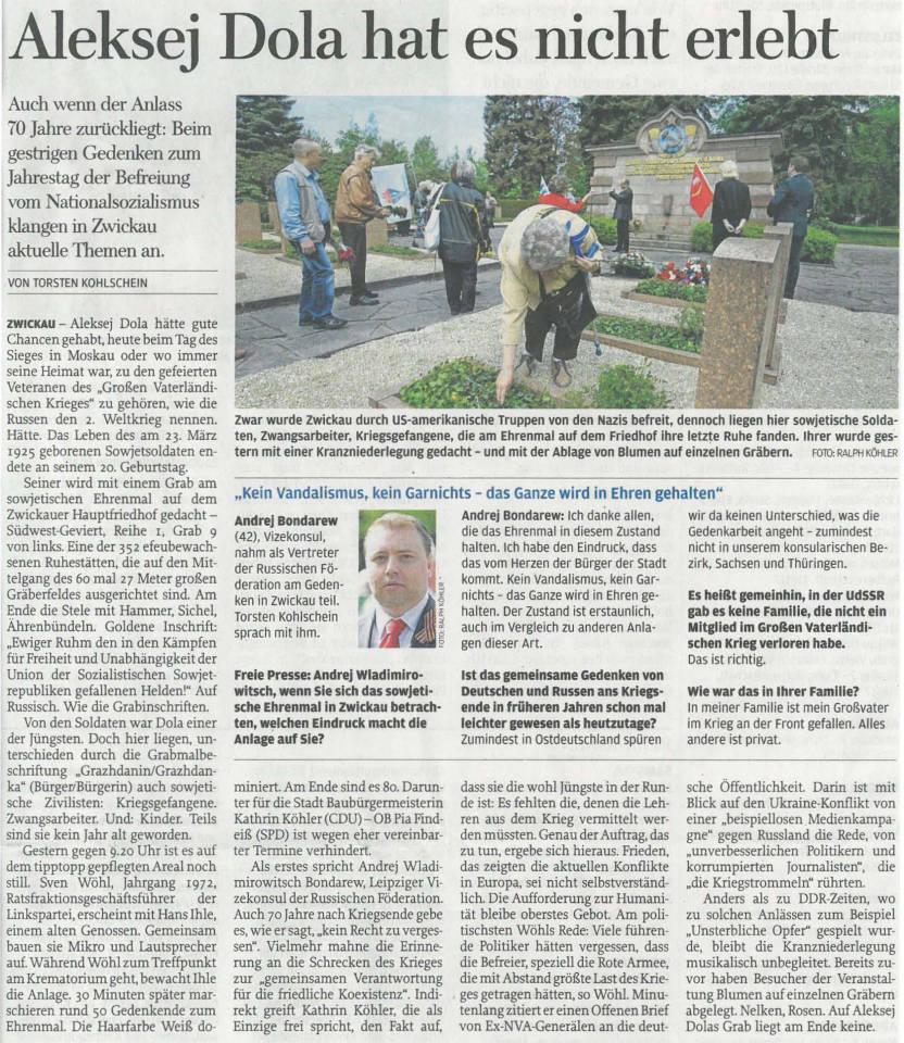 Freie Presse 09.05.2015