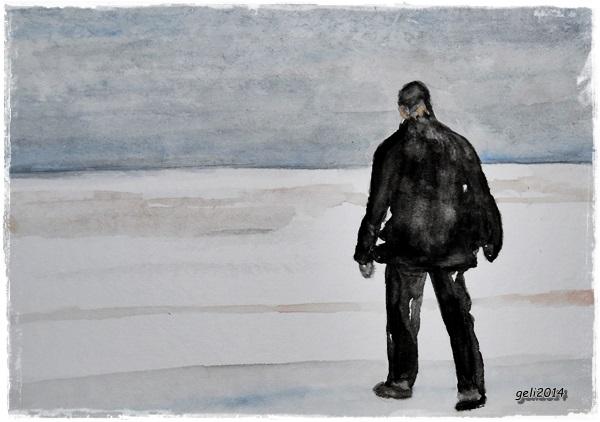 Der einsame Wanderer (St. Peter Ording - Winter 2013)