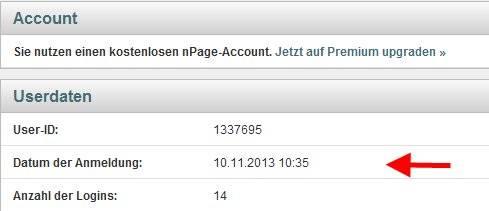 nPage und Google -Anmeldung
