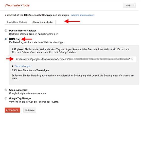 nPage Website bei Google anmelden