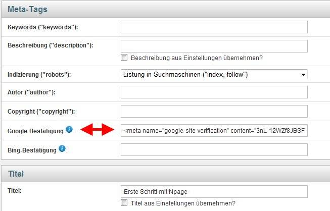 Google Webmastertools Bestätigungscode eintragen