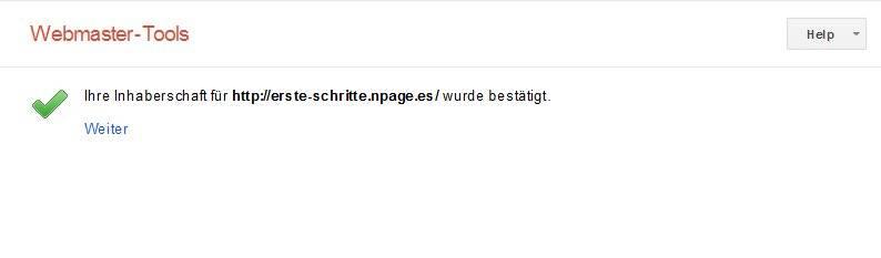 Google WMT bestätigung abschließen