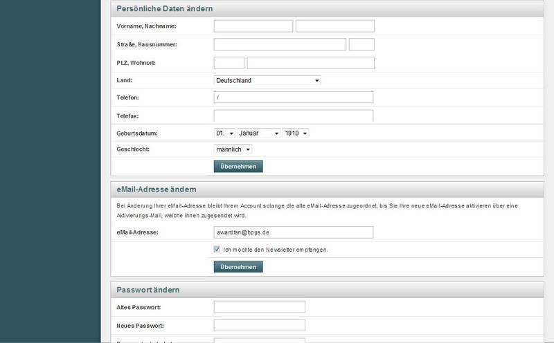 Accounteinstellungen mit E-Mail, Passwort