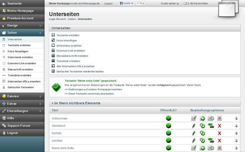 Übersicht zur nPage Seitenverwaltung