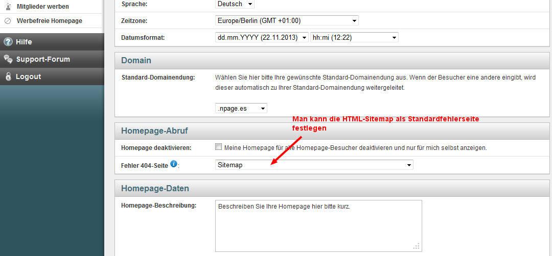 HTML-Sitemap als Standard-Fehlerseite