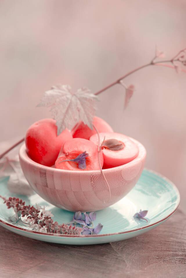 Aprikosen Stillleben im Vintage Design, dekoratives Bild für alle die es Dezent und Edel mögen