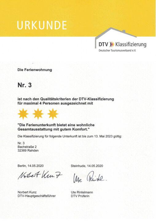 Klassifizierung durch den DTV deutschen Tourismusverband Nrw. mit einer Auszeichnung von 3 Sternen, sehr guten Komfort und Ausstattung der Wohnungen