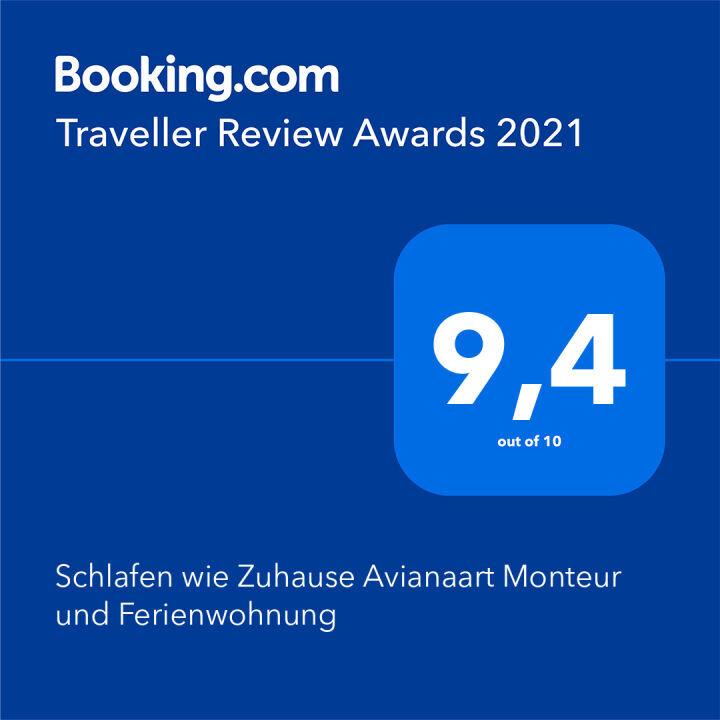 Award, Auszeichnung, 2021, bookingcom, traveller, urkunde,