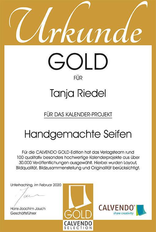 Auszeichnung in Gold für meinen Kalender Handgemachte Seifen für Österreich, Schweiz, Deutschland erhältlich