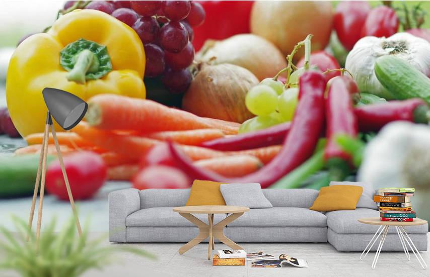 Fototapeten für die Küche mit frischem Obst und Gemüse