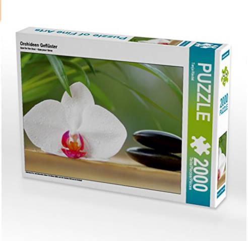 Puzzel, Orchideen Geflüster mit hot Stones und grünen Palmen Blätter auf Amazon zu Bestellen