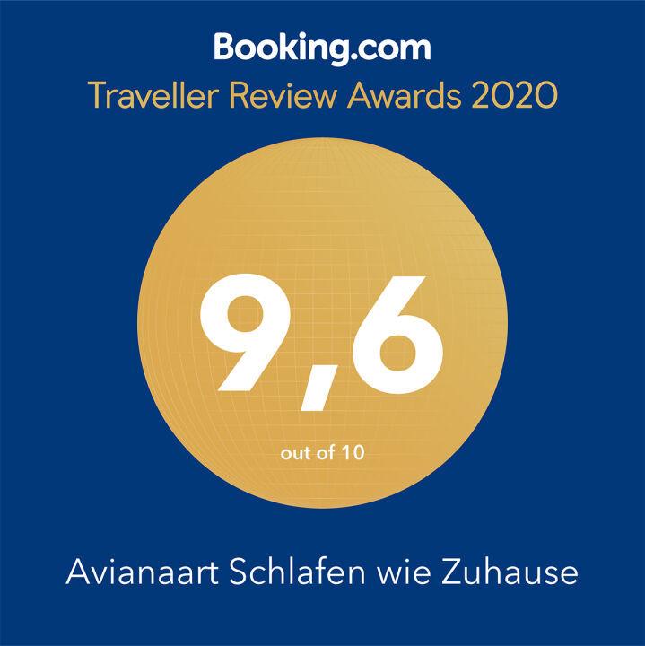 Award, Auszeichnung, bookingcom, Traveller, 2020, 9,6