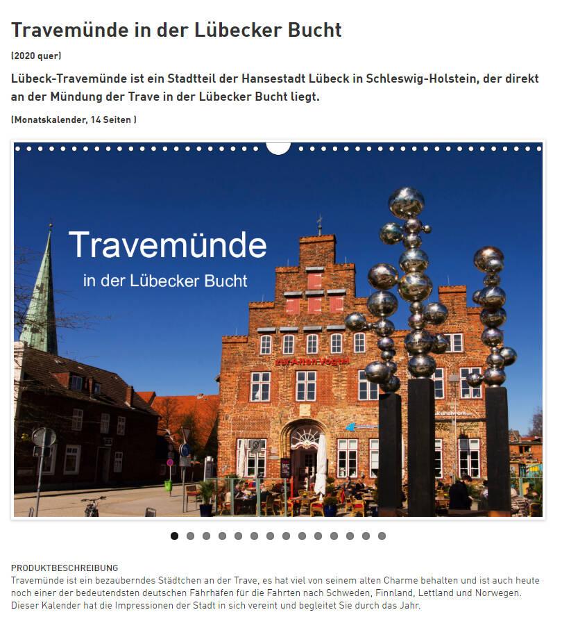 Travemünde Kalender, ein Stadtteil der Hansestadt Lübeck in Schlewig-Holstein, direkt an der Mündung der Trave in der Lübecker Bucht