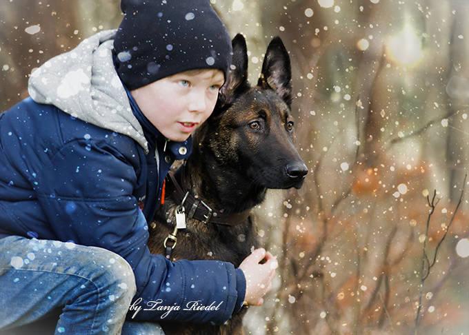 Kind mit belgischem Schäferhund 5 Monate alt