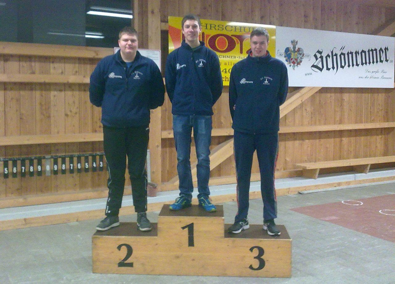 1. Platz Andreas Moosleitner (120), 2. Platz Martin Fürhaupter (117) und 3. Platz Hubert Fürhaupter (59)