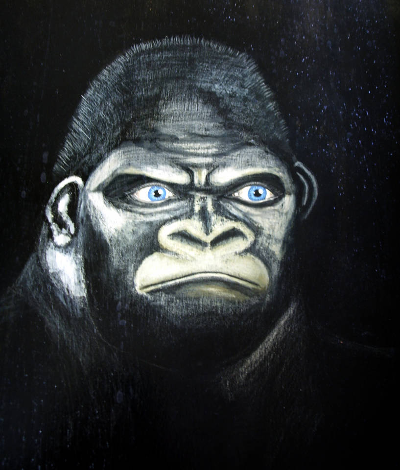 Der Affe mit den Menscheaugen    Mischtechnik