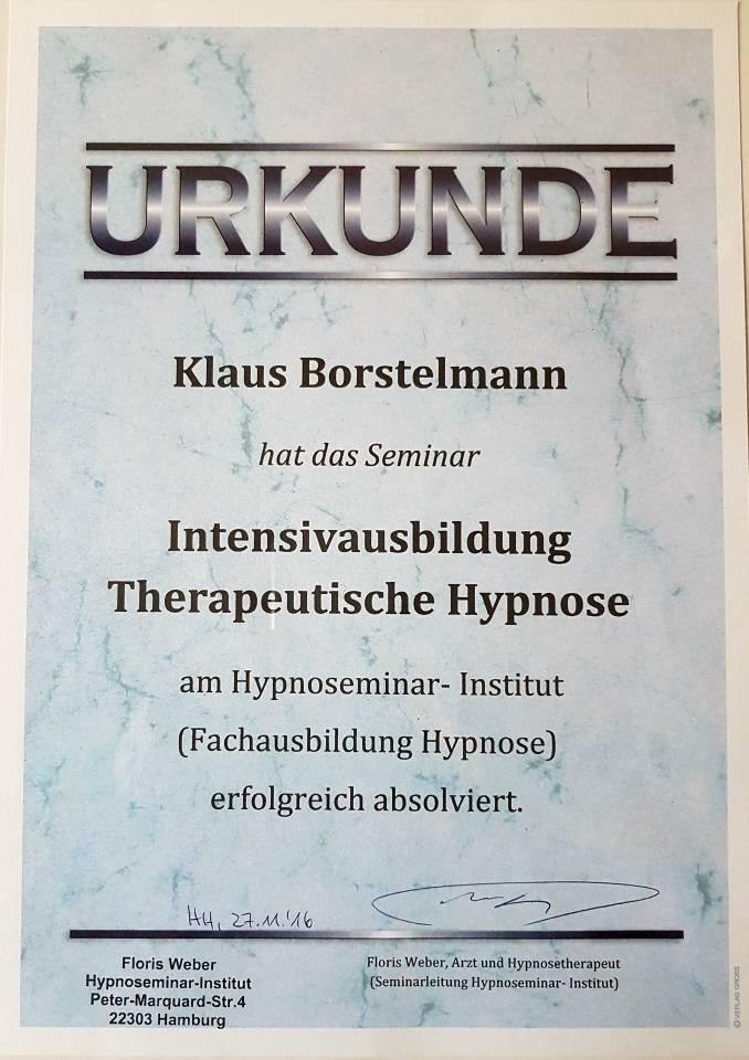 Zertifikat Hypnoseausbildung Dr. Floris Weber