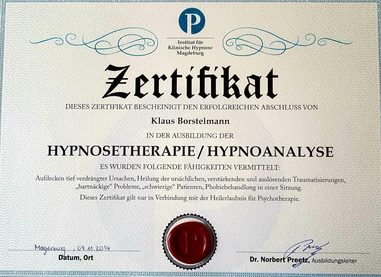 Zertifikat Hypnosetherapie, Hypnoanalyse, Institut für klinische Hypnose Magdeburg