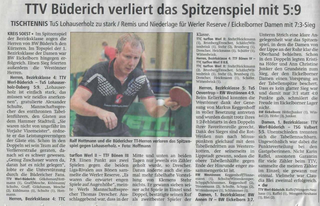 TTV Werl Büderich Tischtennis