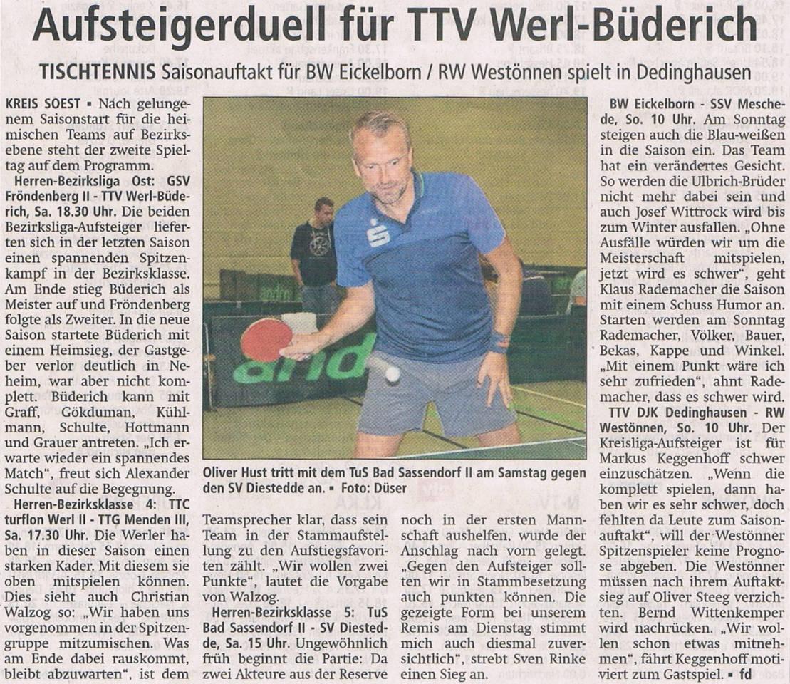 Tischtennis TTV Werl-Büderich