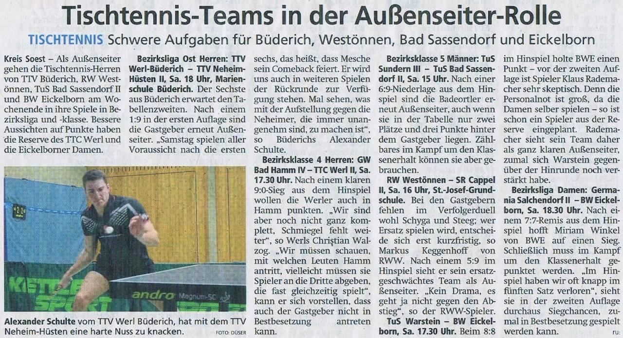 TTV 1989 Werl-Büderich e.V. Tischtennis