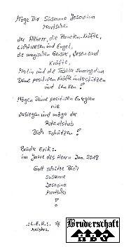 innenliegender Brief des Ritualstabes; Bruderschaft Herzberg