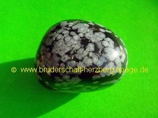 Schneeflocken-Obsidian - Trommelstein - Foto der Bruderschaft Herzberg
