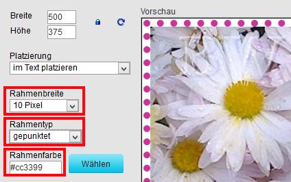 hPage, nPage, HP, Homepage, Bild Bilder einfach umranden, einfache Umrandung