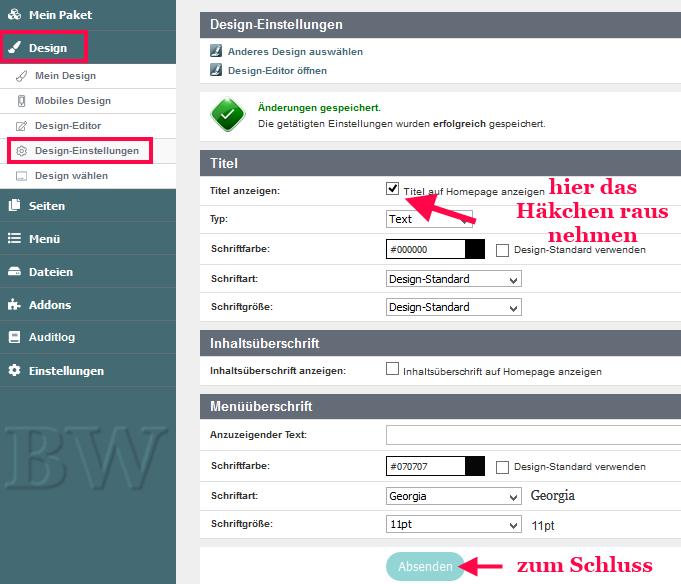 hPage, nPage, HP, Homepagetitel im Header entfernen
